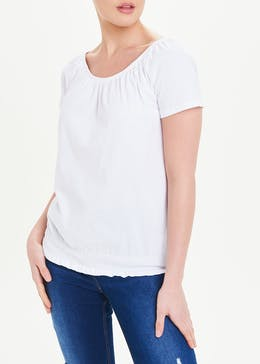 Shirred Wide Neck T-Shirt