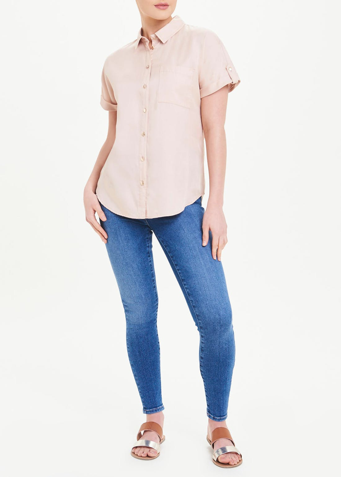 Short Sleeve Tencel Utility Blouse