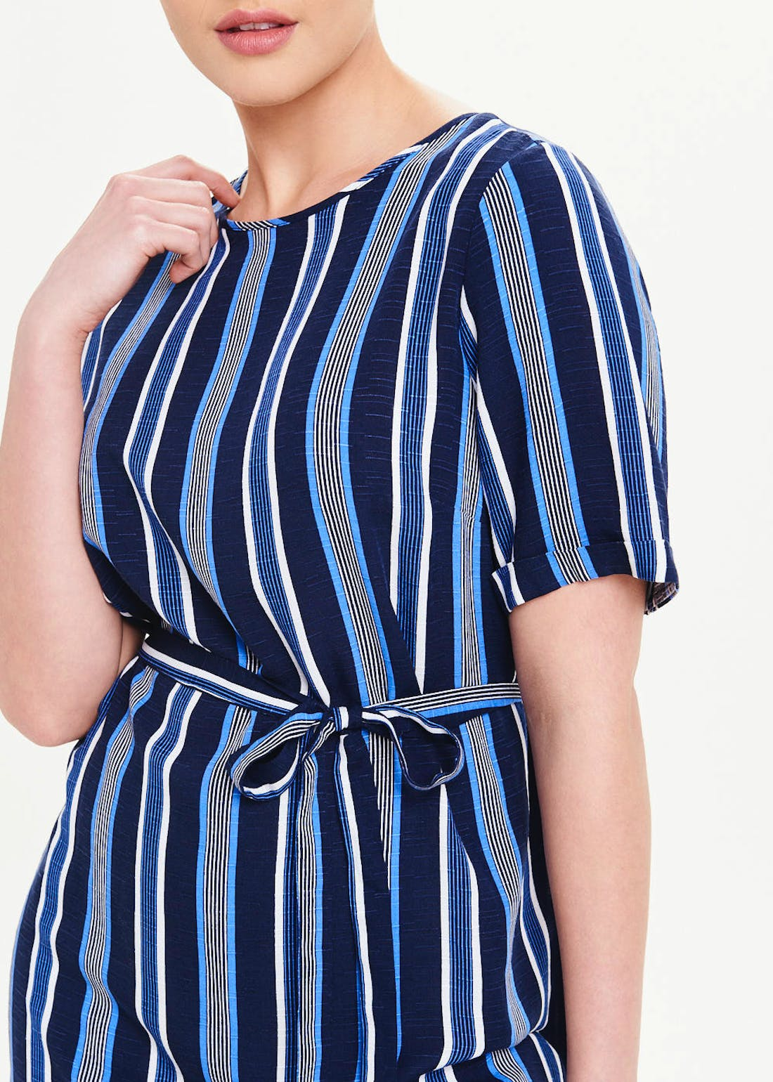 Blue Short Sleeve Stripe Belted Tunic Top