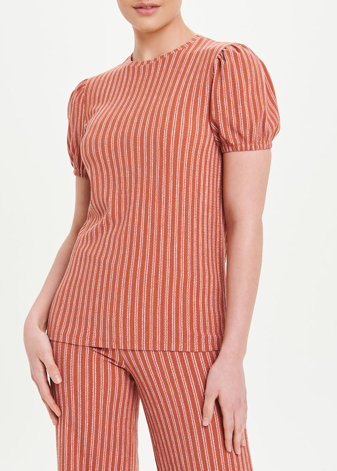 Puff Sleeve Stripe Co-Ord T-Shirt