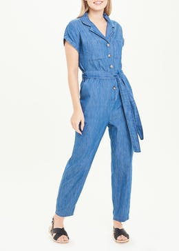 Short Sleeve Denim Jumpsuit