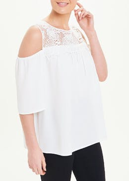 Soon Lace Cold Shoulder Top
