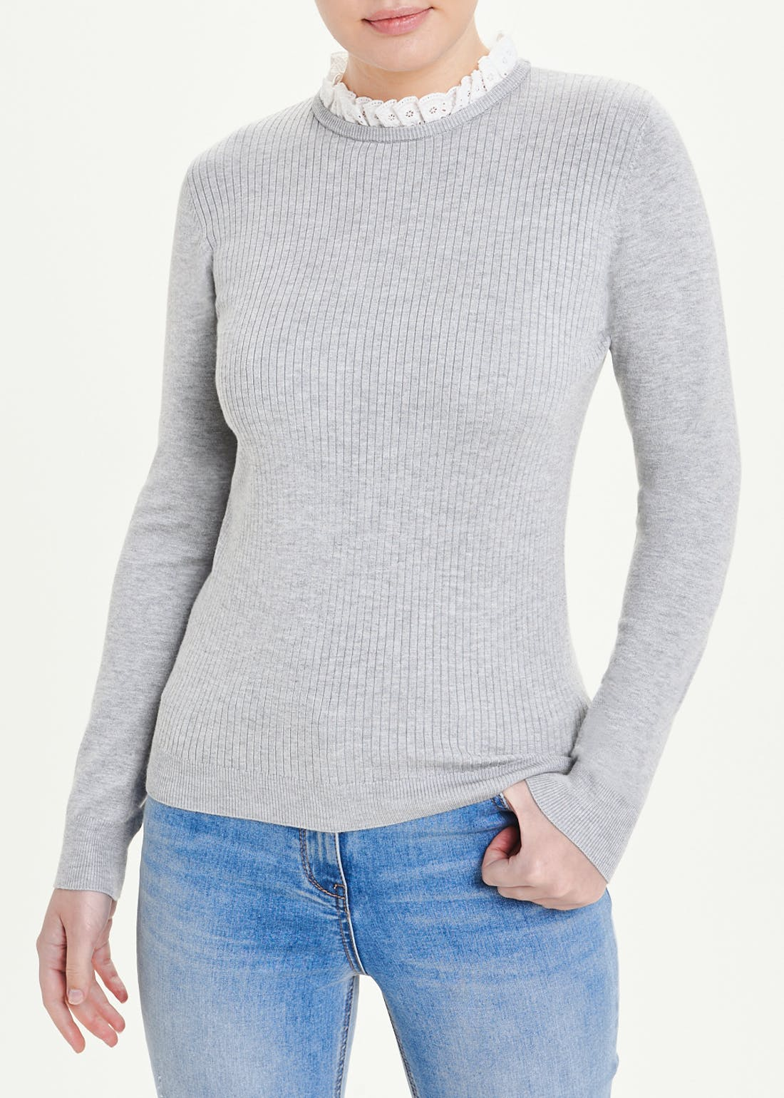 Lace Frill Neck Jumper