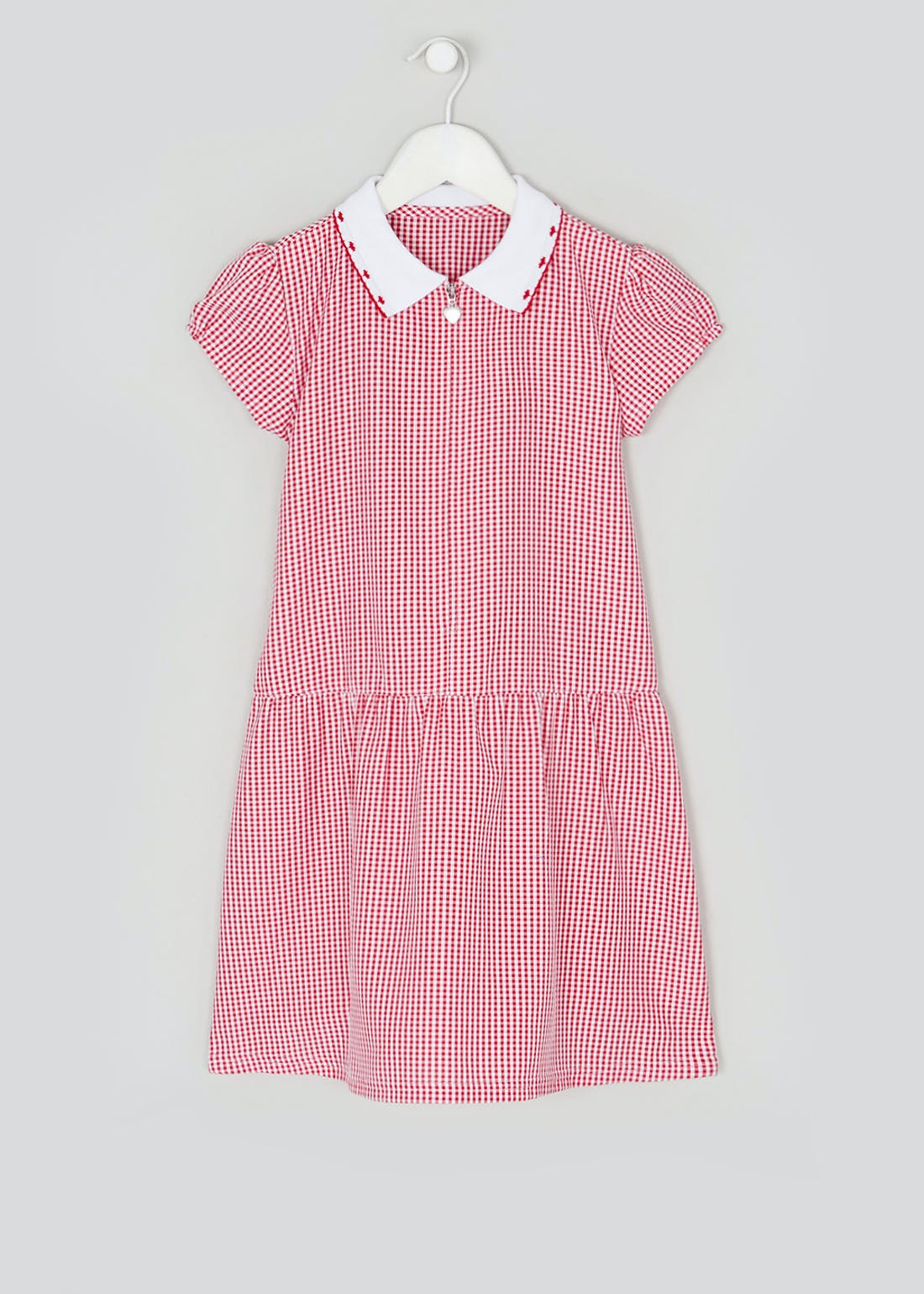 Girls Generous Fit Red Zip Front Gingham School Dress (3-14yrs)