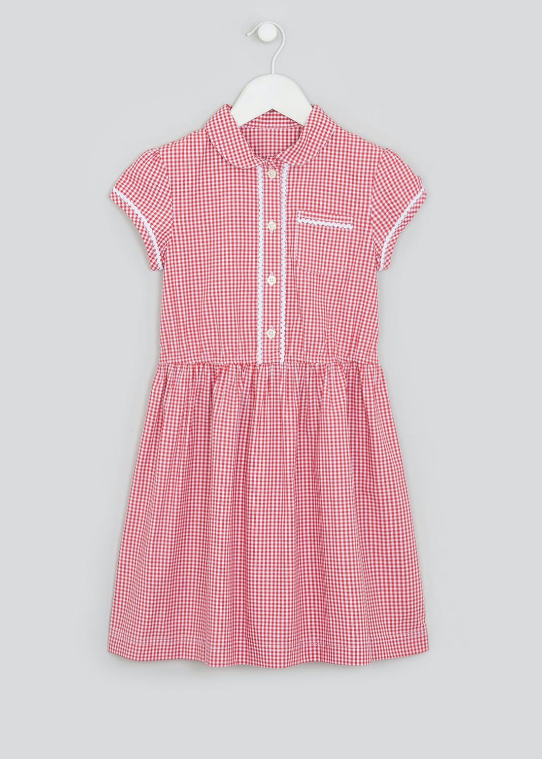 Girls Red Gingham School Dress (3-14yrs)