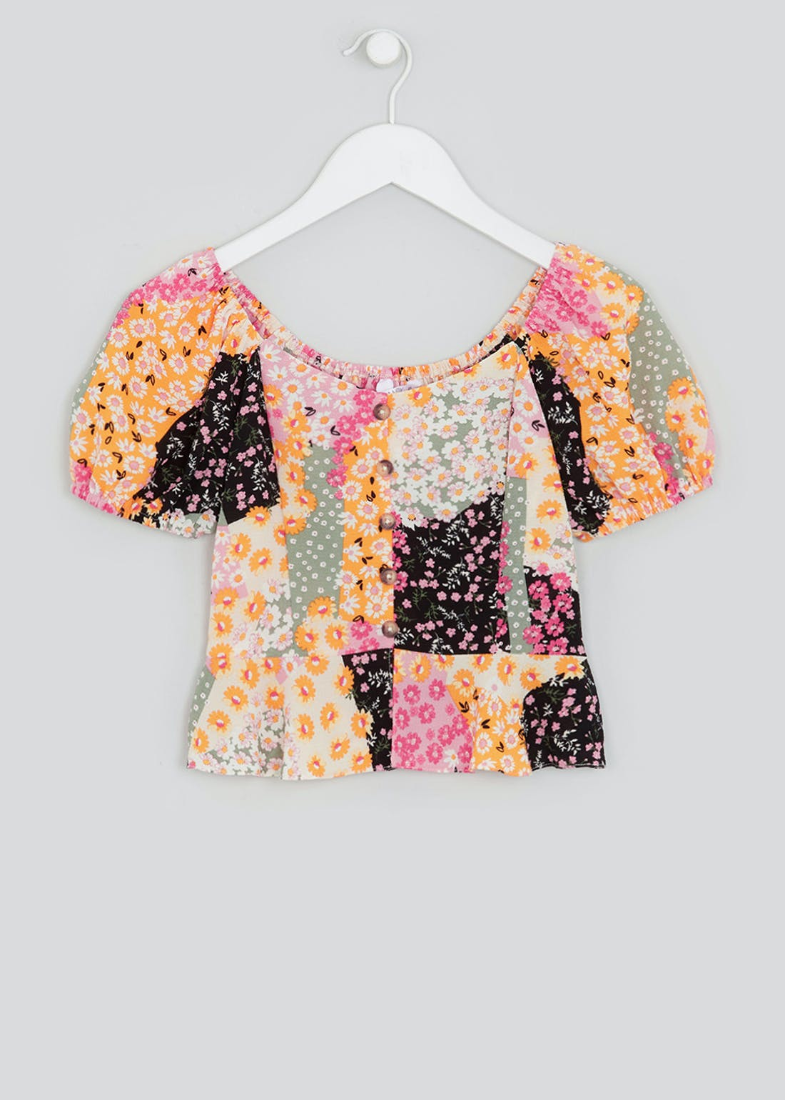 Girls Candy Couture Peplum Button Top (9-16yrs)