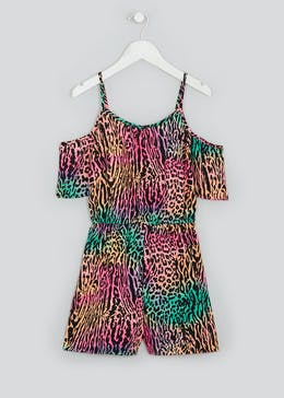 Girls Candy Couture Neon Animal Print Playsuit (9-16yrs)
