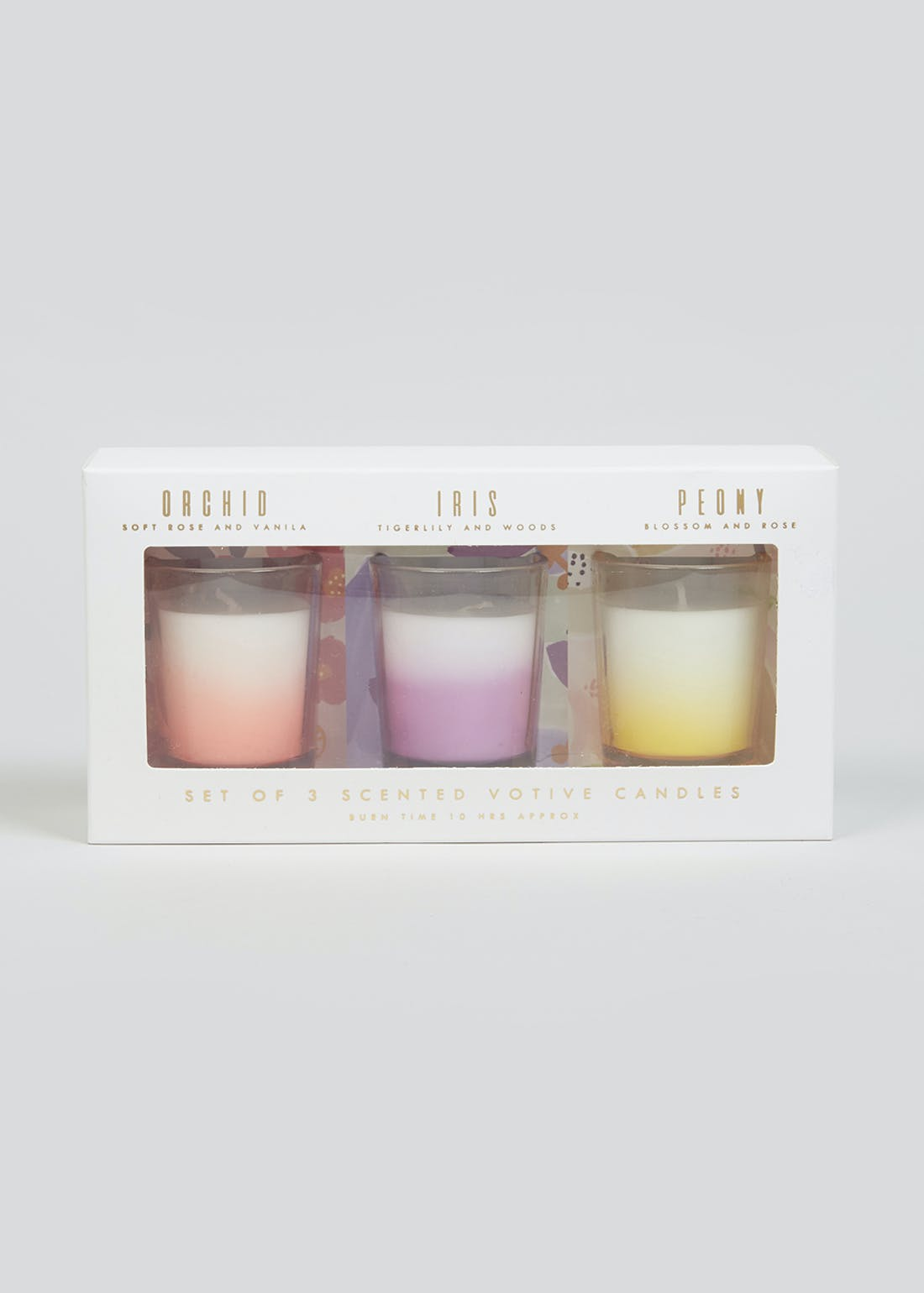 Floral Votive Candle Set (6.5cm x 5cm)