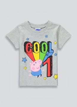 Kids George Pig Cool At 1 Birthday T-Shirt (One Size)
