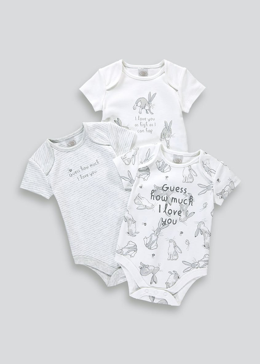 Unisex 3 Pack Guess How Much I Love You Bodysuits (Newborn-12mths)