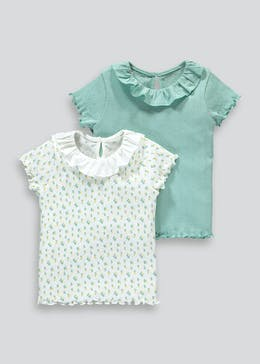 Girls 2 Pack Pointelle T-Shirts (9mths-6yrs)