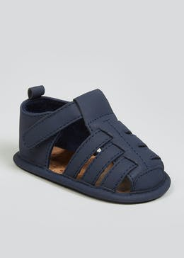 Boys Navy Soft Sole Caged Sandals (Newborn-18mths)
