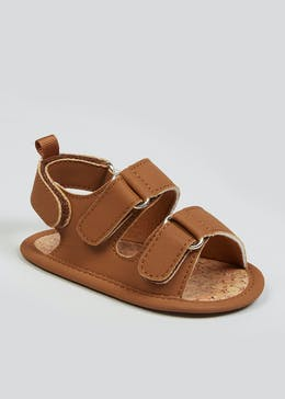 Boys Tan Soft Sole Footbed Sandals (Newborn-18mths)