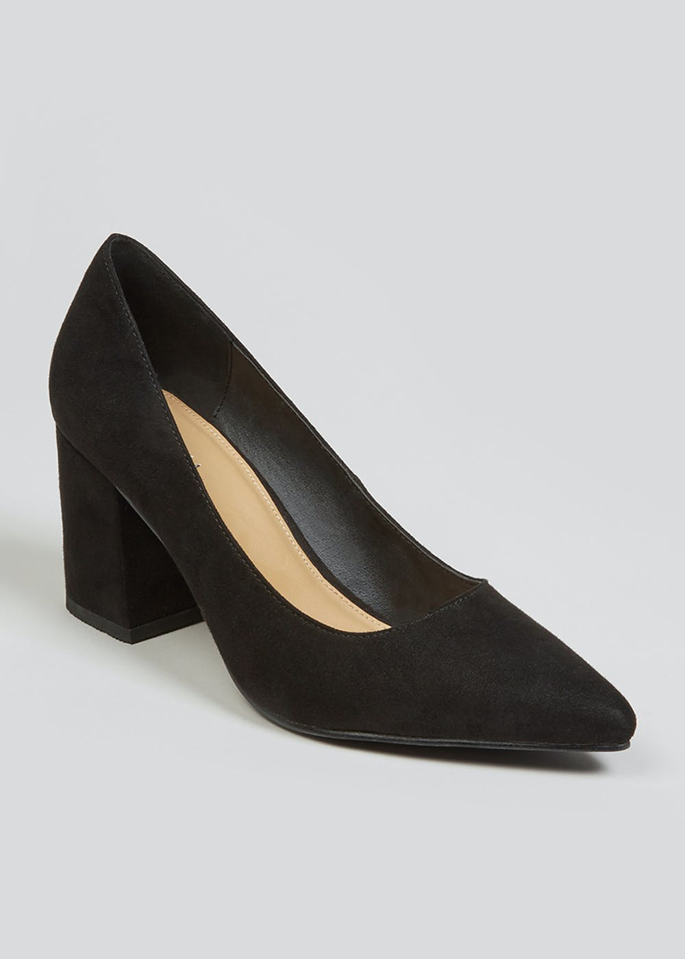 Black Block Heel Pointed Court Shoes