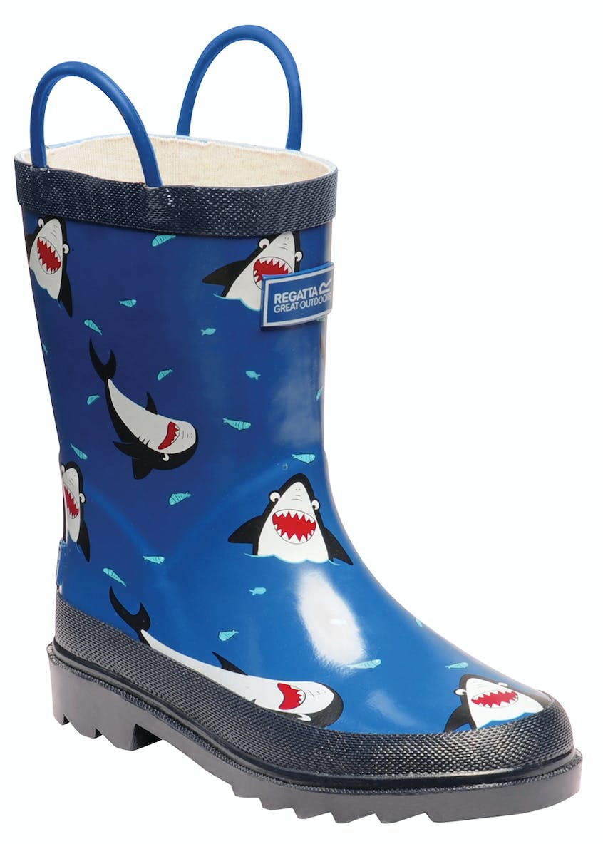 Kids Regatta Blue Shark Wellies (Younger 4-12)