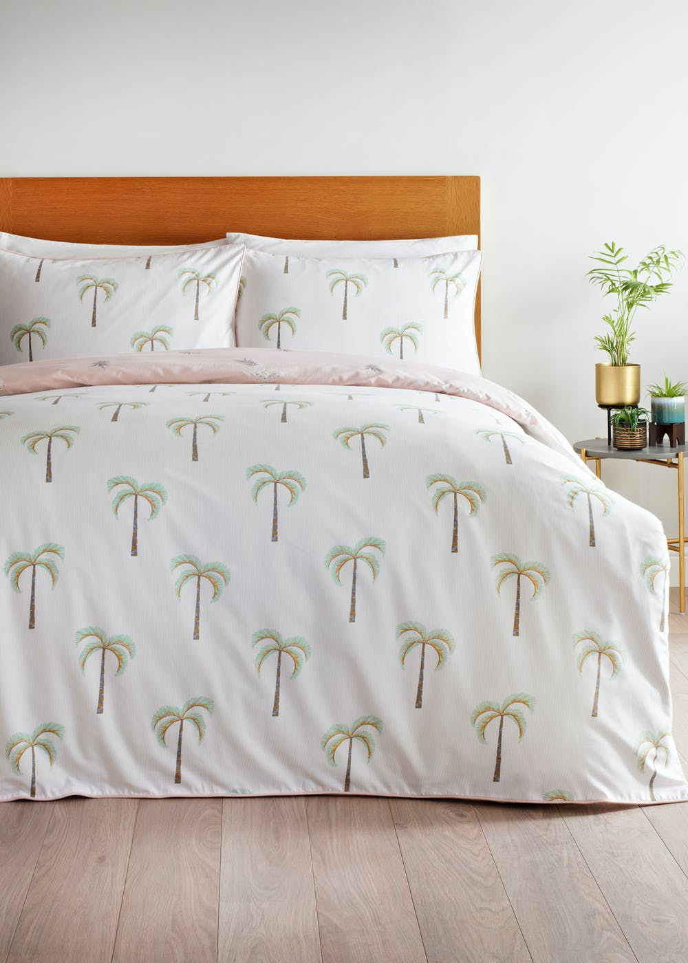 Reversible Metallic Palm Print Duvet Cover