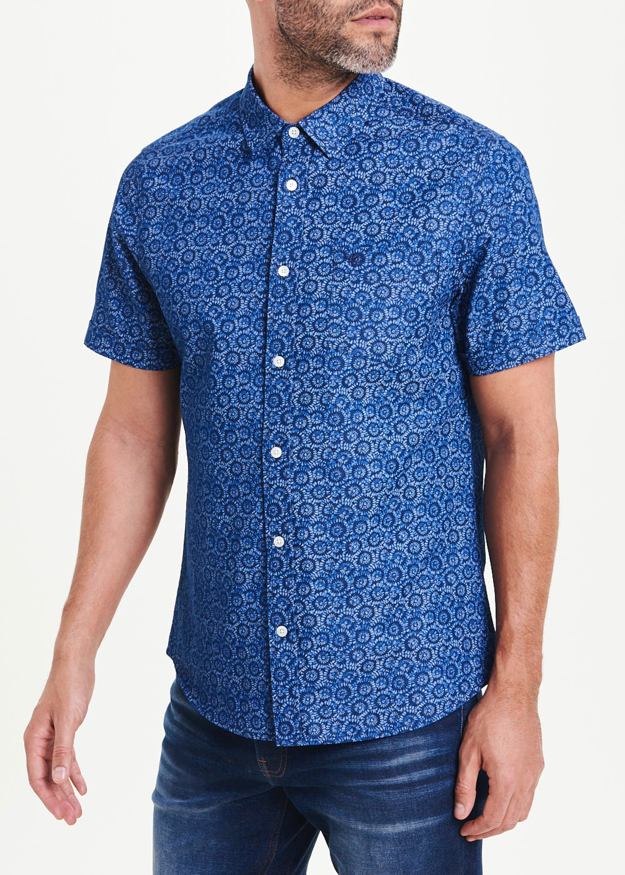 Morley Short Sleeve Floral Shirt Blue RSCWON