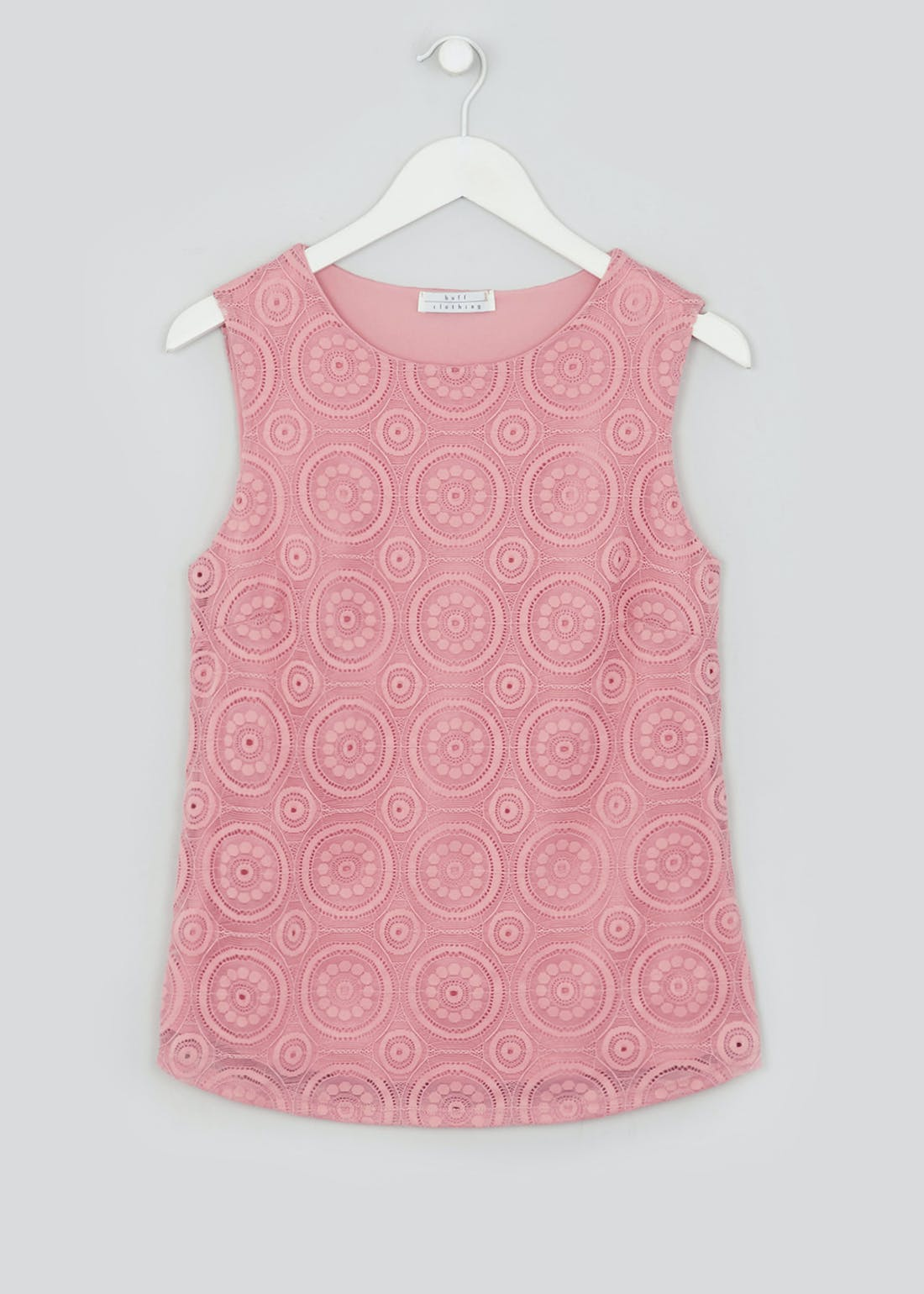 Pink Lace Overlay Vest Top