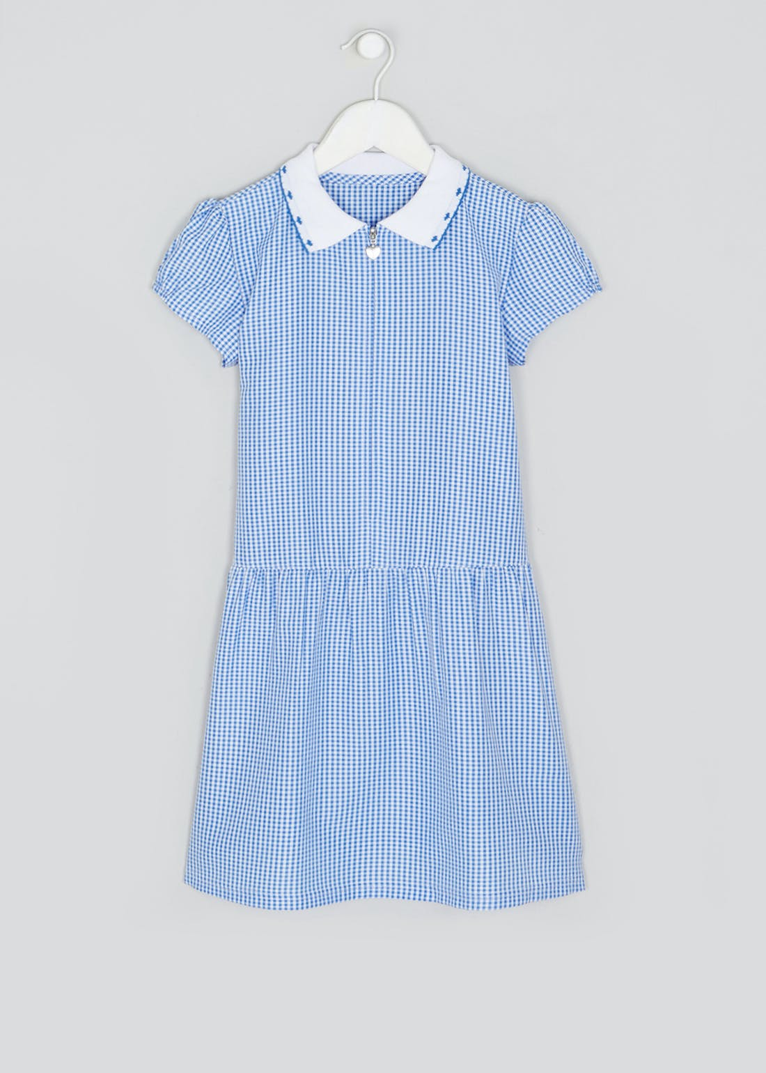 Girls Generous Fit Blue Zip Front Gingham School Dress (3-14yrs)