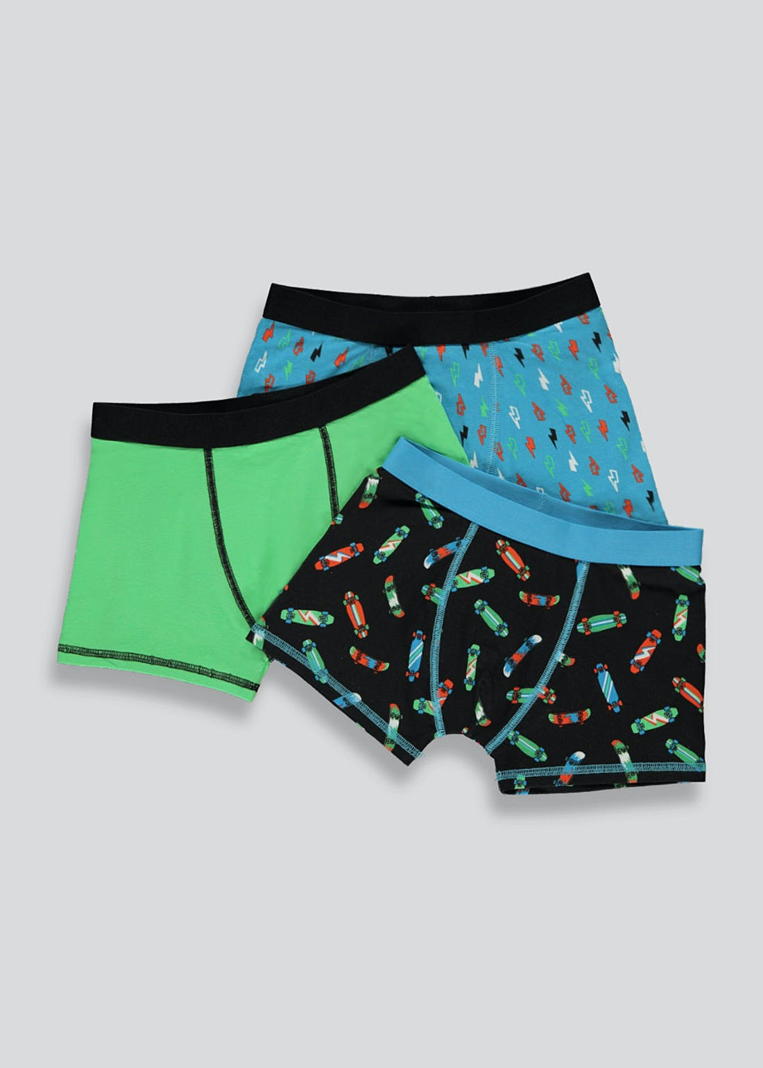 Boys 3 Pack Skate Trunks (2-13yrs)