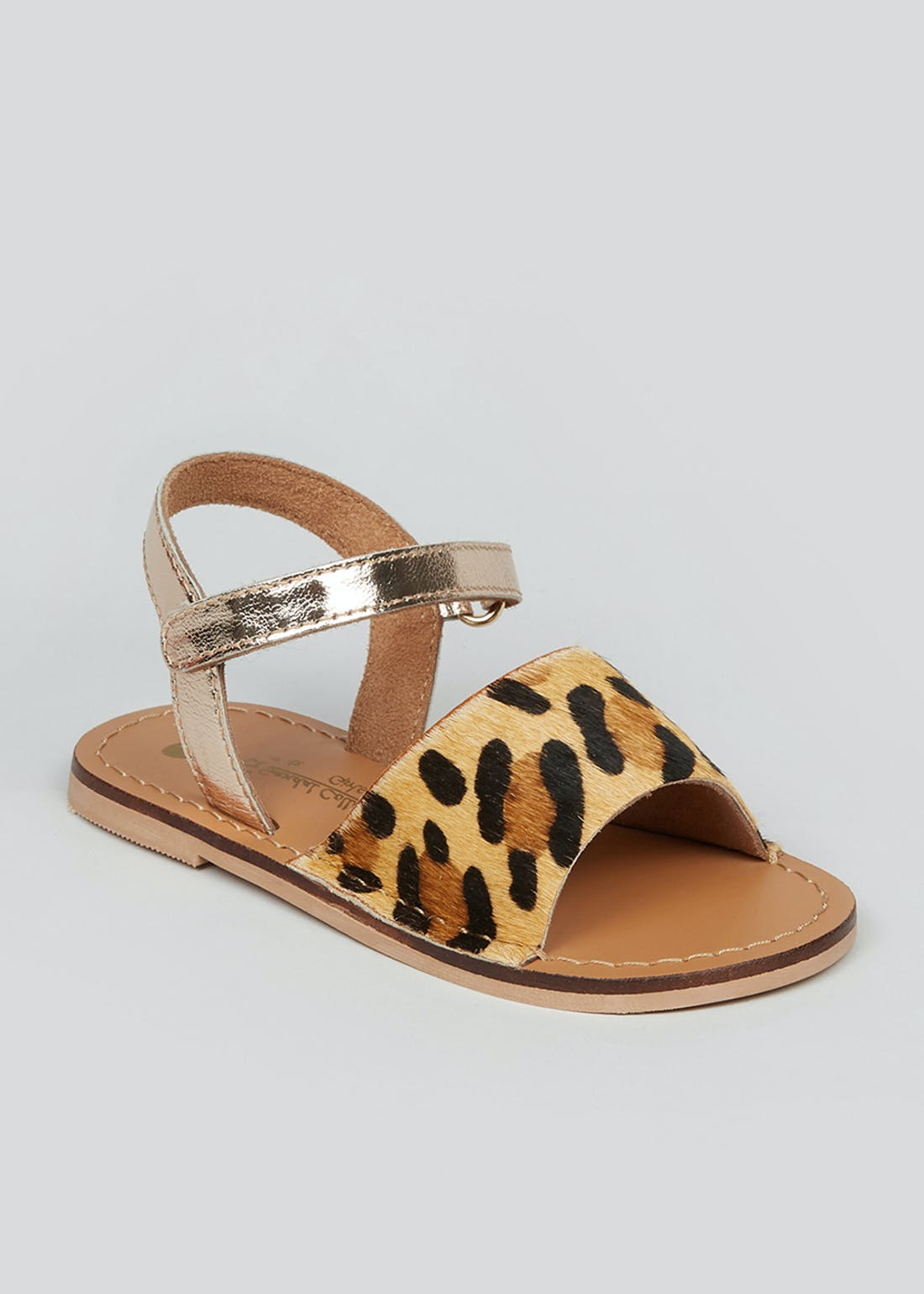 Girls Leopard Print Leather Sandals (Younger 4-12)