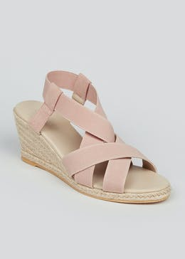 Wide Fit Pink Espadrille Wedges