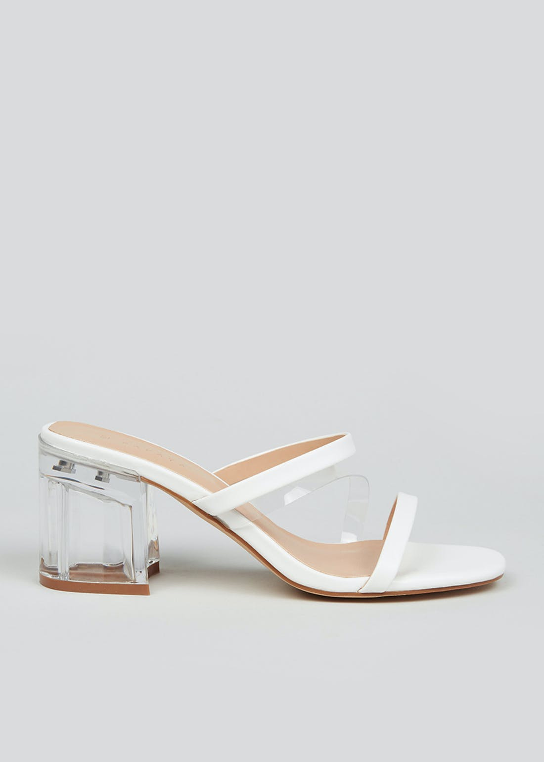 White Clear Block Heel Mules