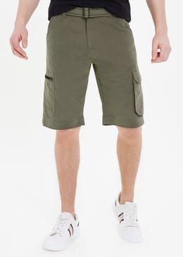Straight Fit Belted Cargo Shorts