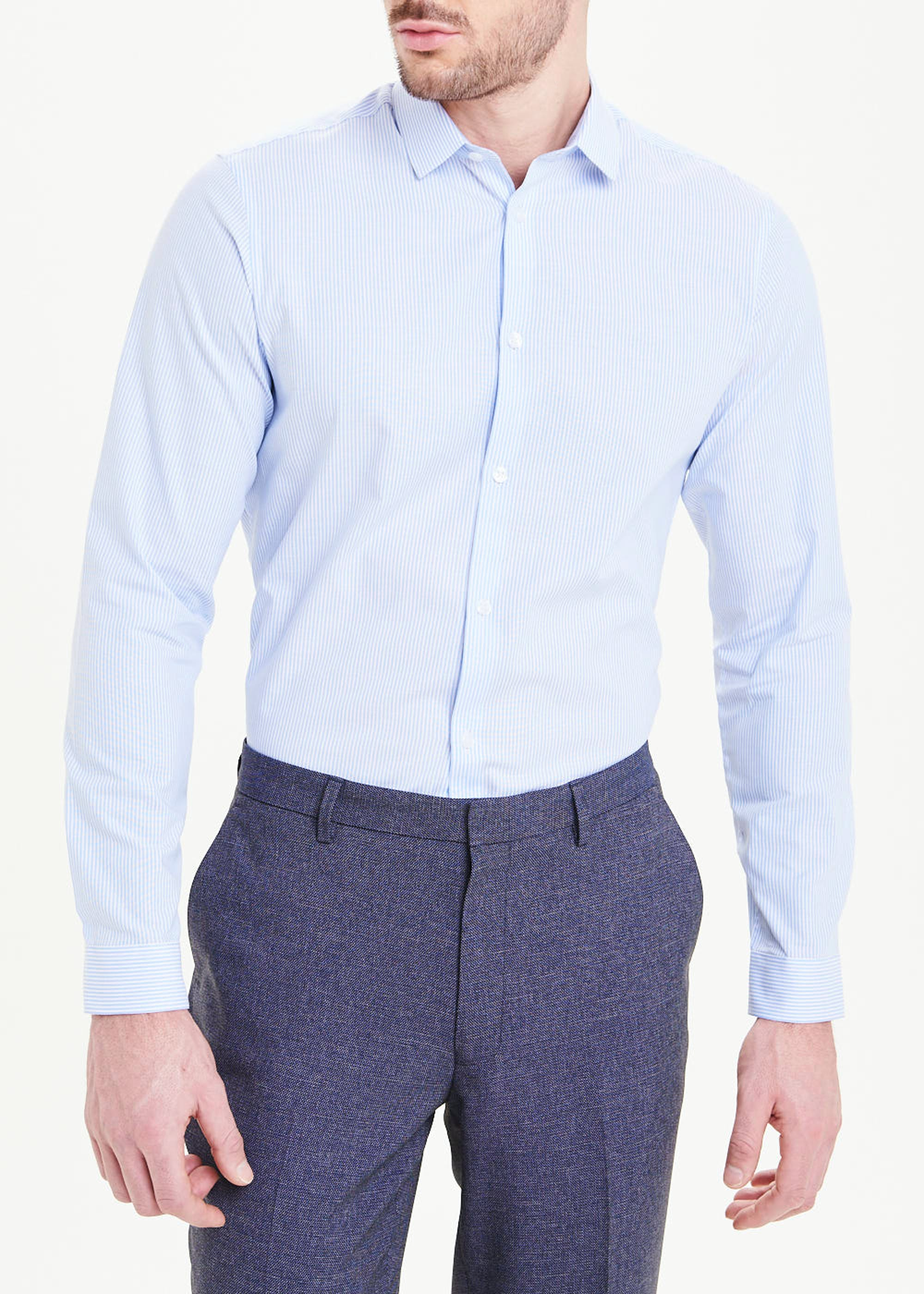 Taylor & Wright Long Sleeve Slim Fit Stripe Shirt Blue kYyVic