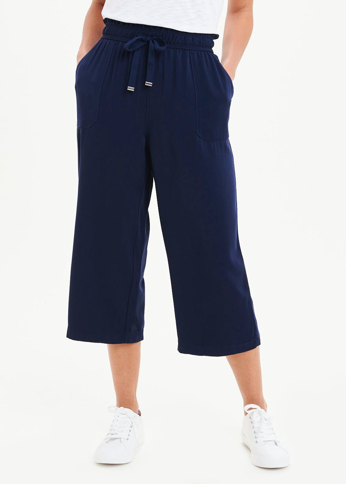 Cropped Drawstring Utility Trousers