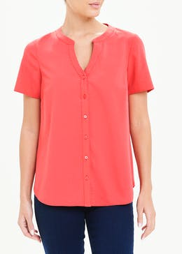 Coral Short Sleeve Clipper Blouse