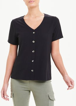 Ribbed Jersey Button Through T-Shirt