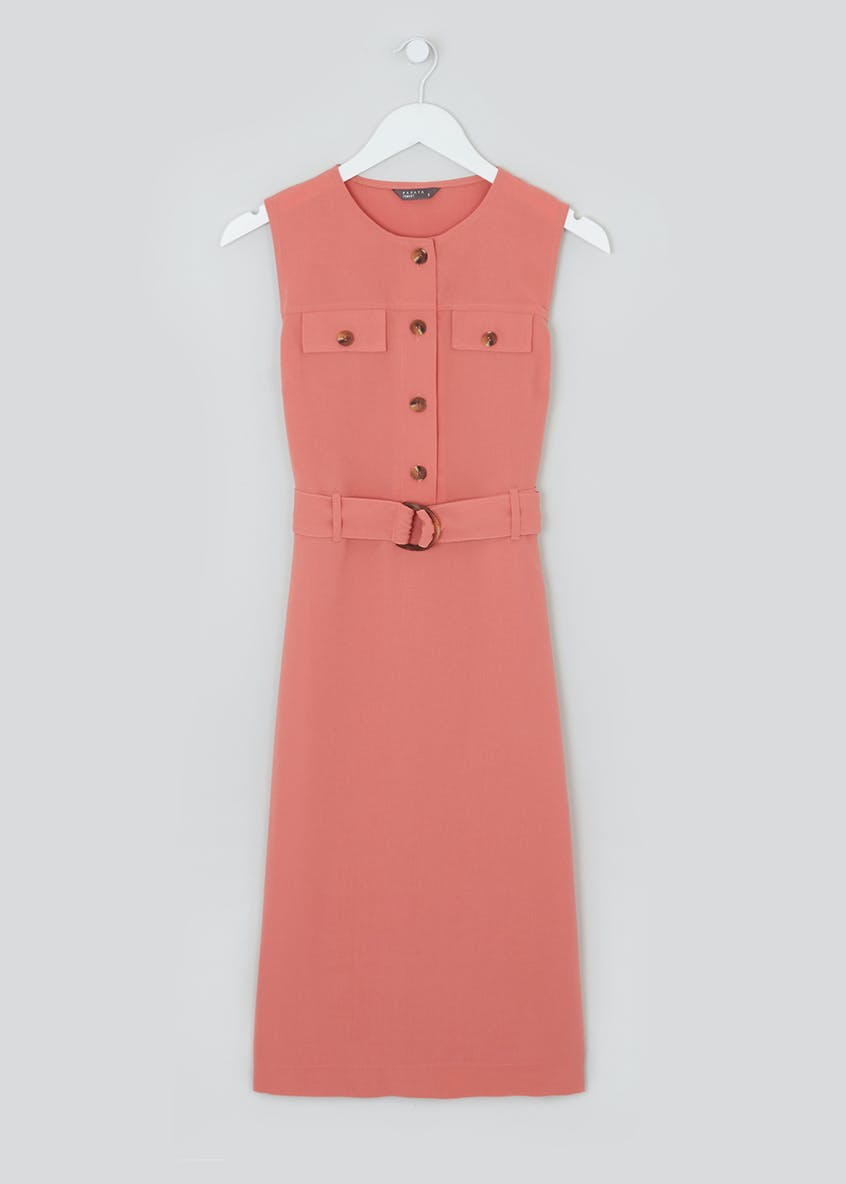 Pink Sleeveless Utility Shift Dress