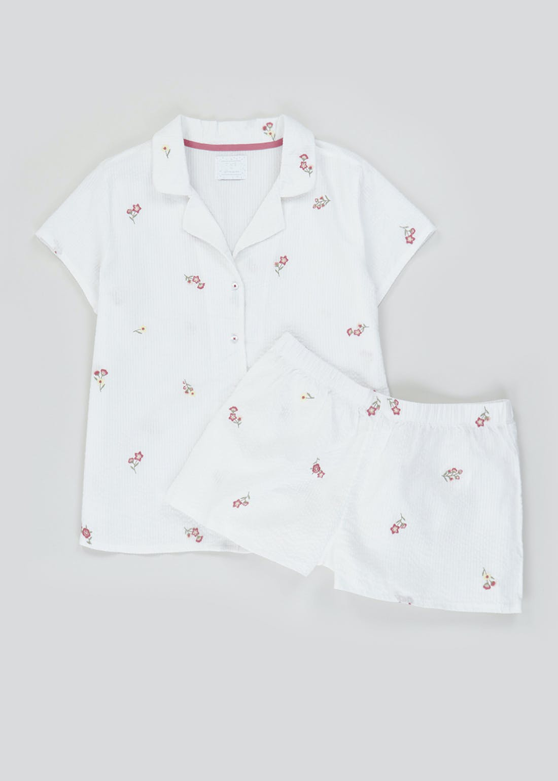 Embroidered Button Through PJ Shorts Set