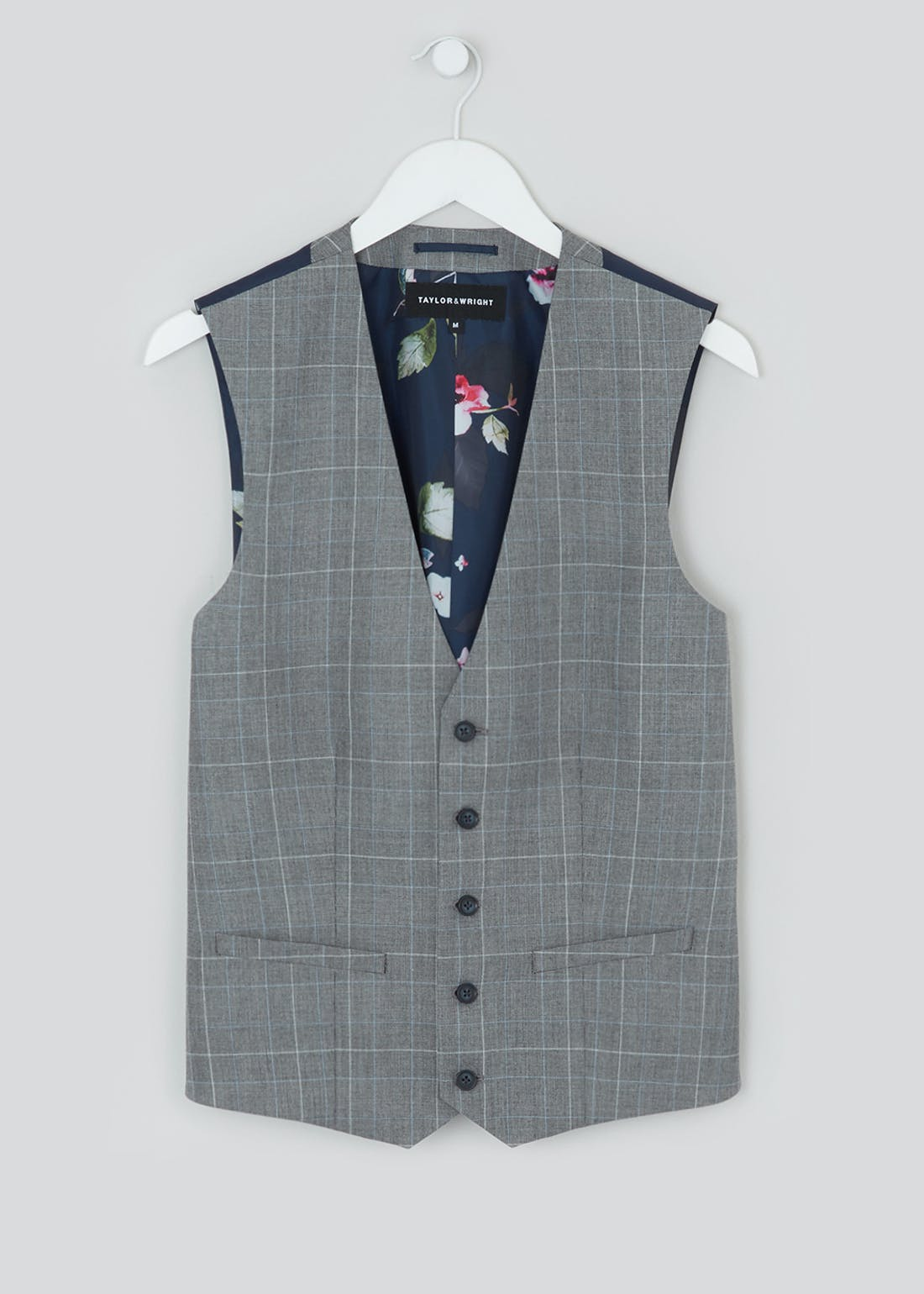 Taylor & Wright Glover Slim Fit Check Suit Waistcoat