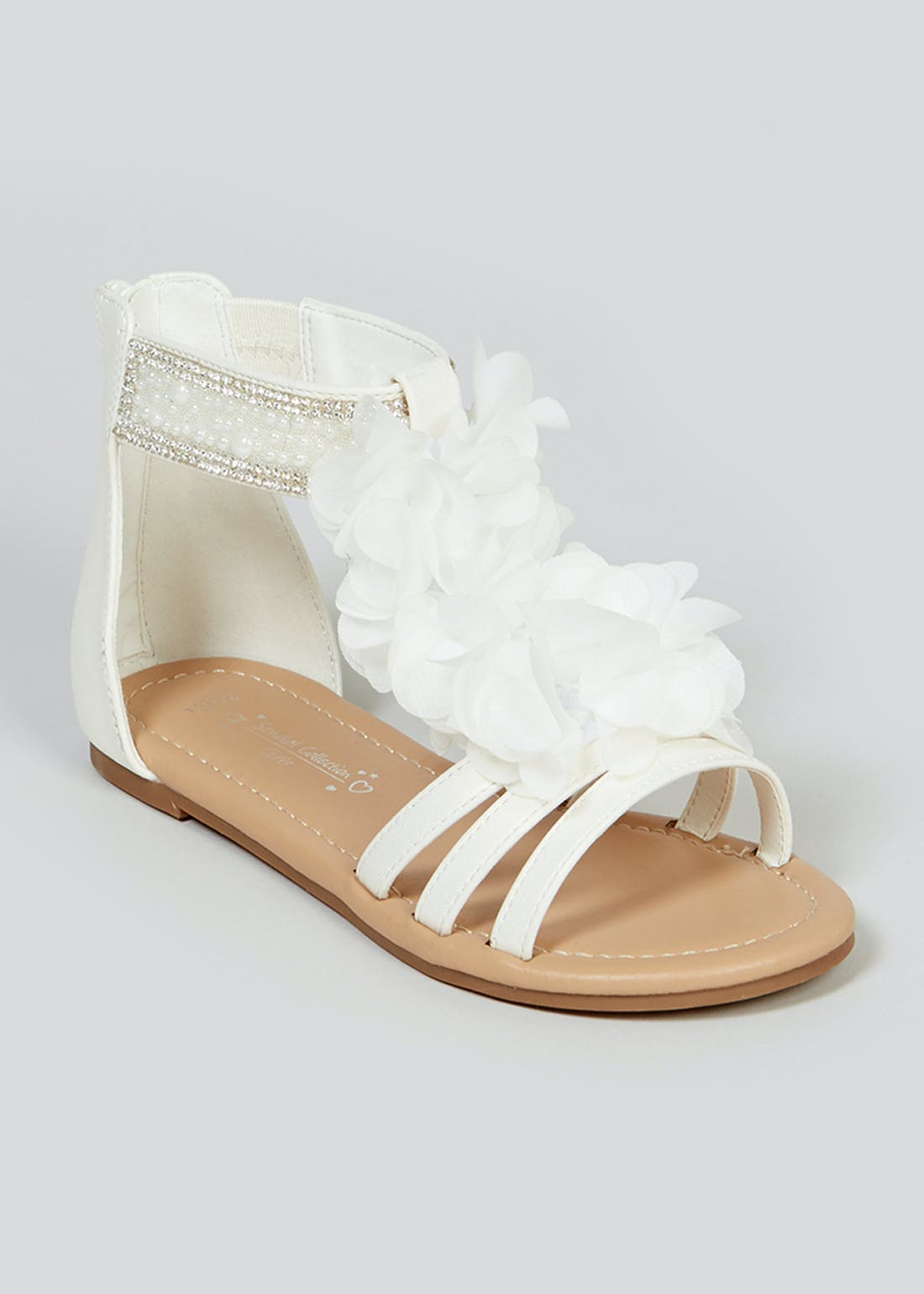 Girls White Occasion Sandals (Younger 10-Older 5)