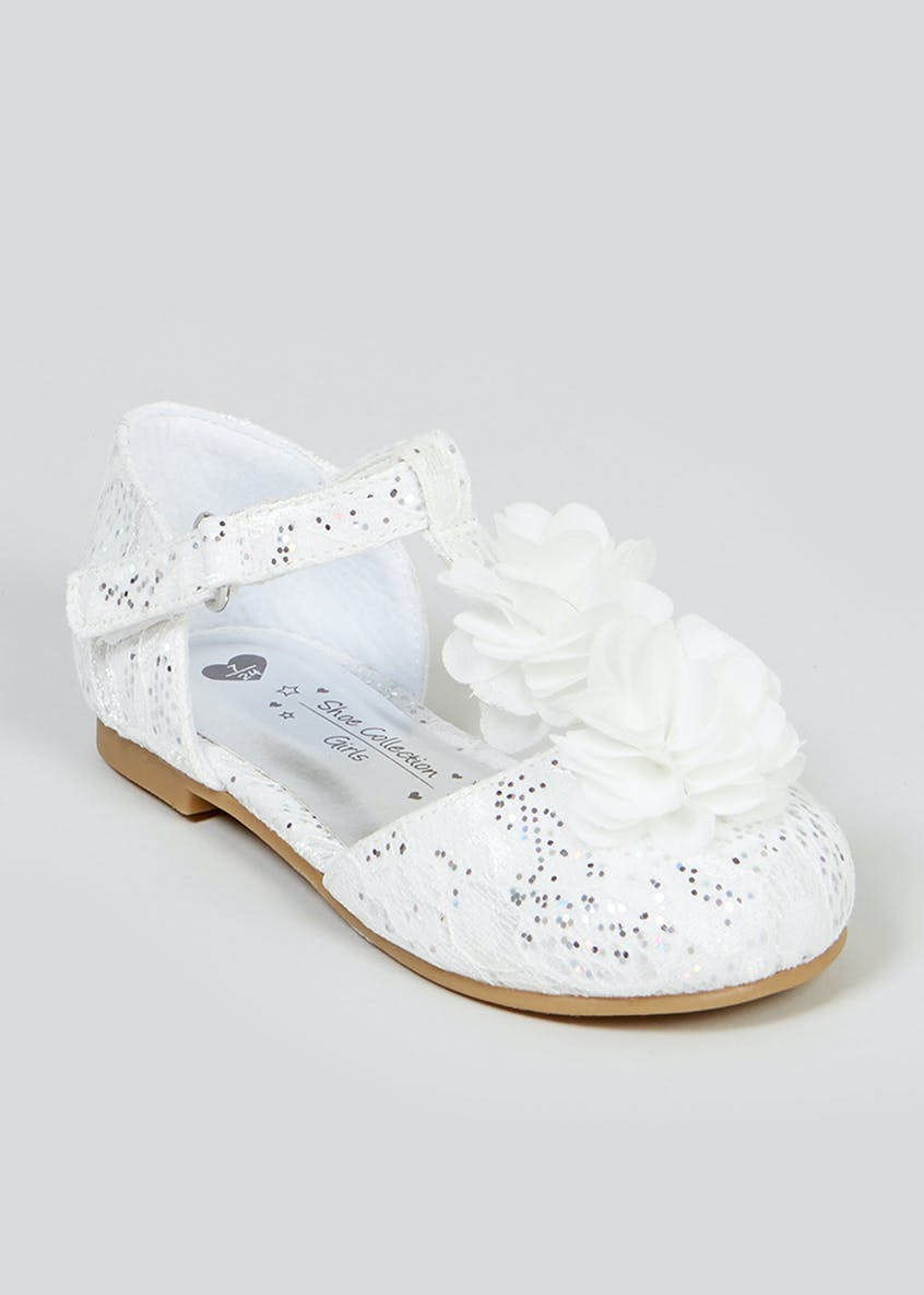 Girls White Flower Occasion Ballet Shoes (Younger 4-9)
