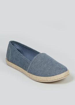 Denim Slip On Ballet Espadrilles
