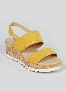 Soleflex Mustard Cork Wedge Sandals