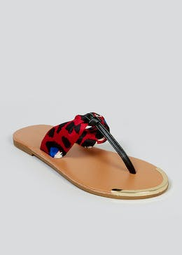 Red Leopard Print Scarf Sandals