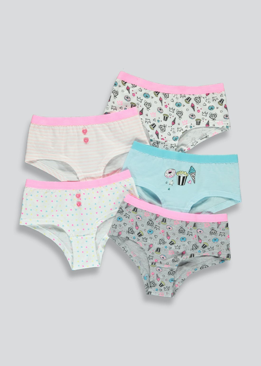 Girls 5 Pack Boy Shorts (6-13yrs)
