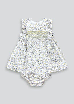 Girls Floral Smocked Dress (Newborn-23mths)
