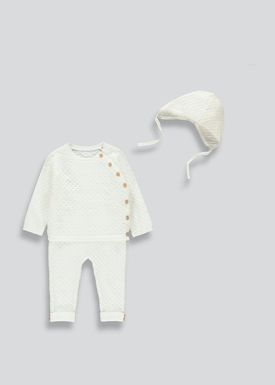 Unisex Knitted Set & Bonnet (Tiny Baby-23mths)