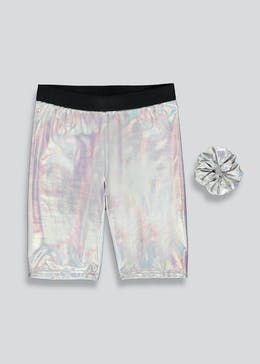 Girls Candy Couture X Metallic Co-Ord Shorts & Scrunchie (9-16yrs)