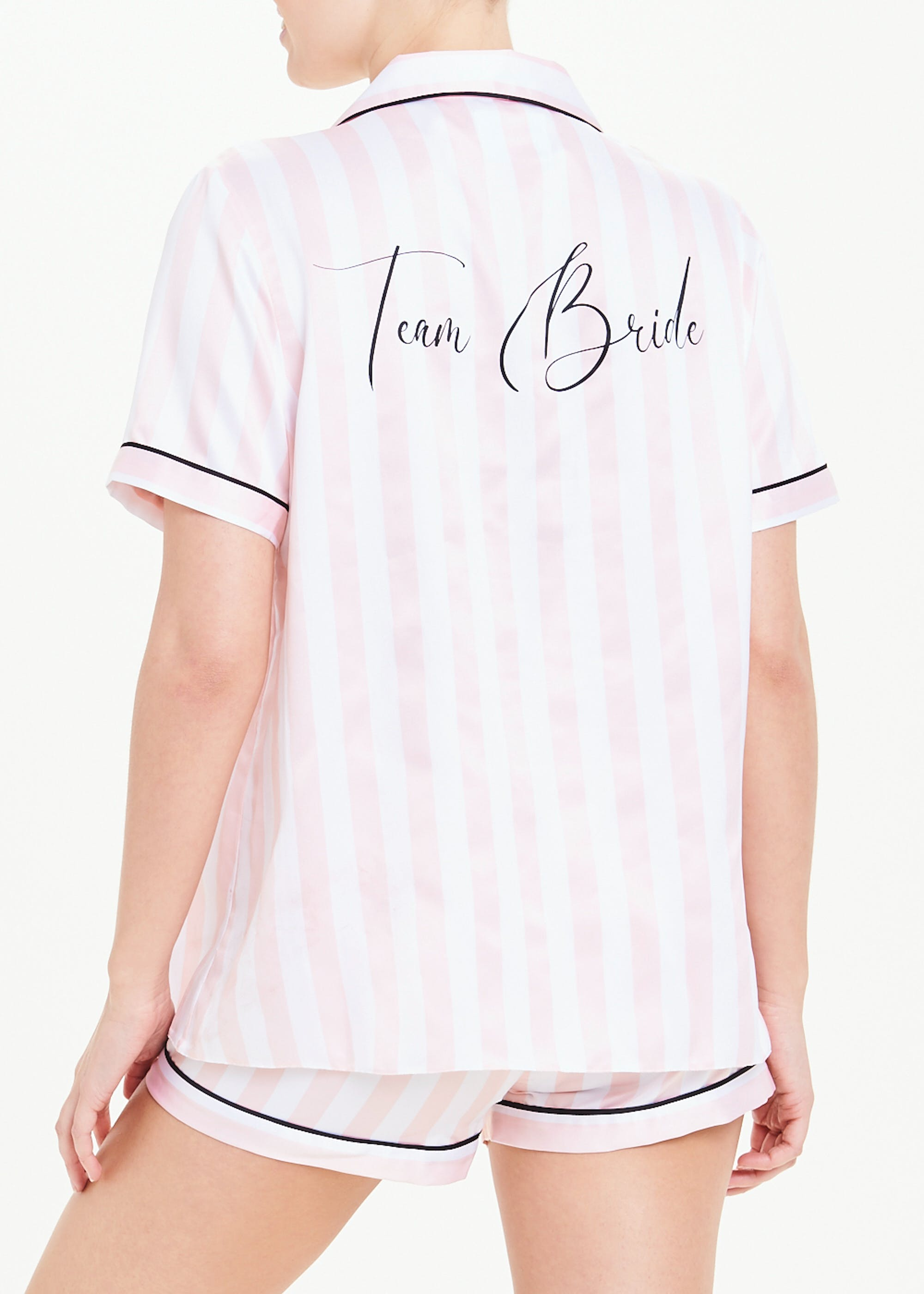Team Bride Button Through Short Pyjamas Pink Matalan
