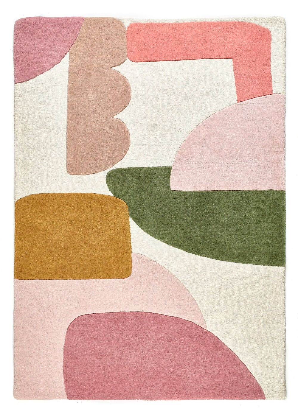 Abstract Colour Block Wool Rug Multi