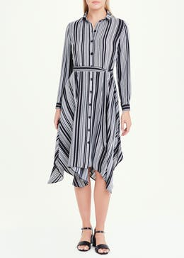 Long Sleeve Stripe Hanky Hem Shirt Dress