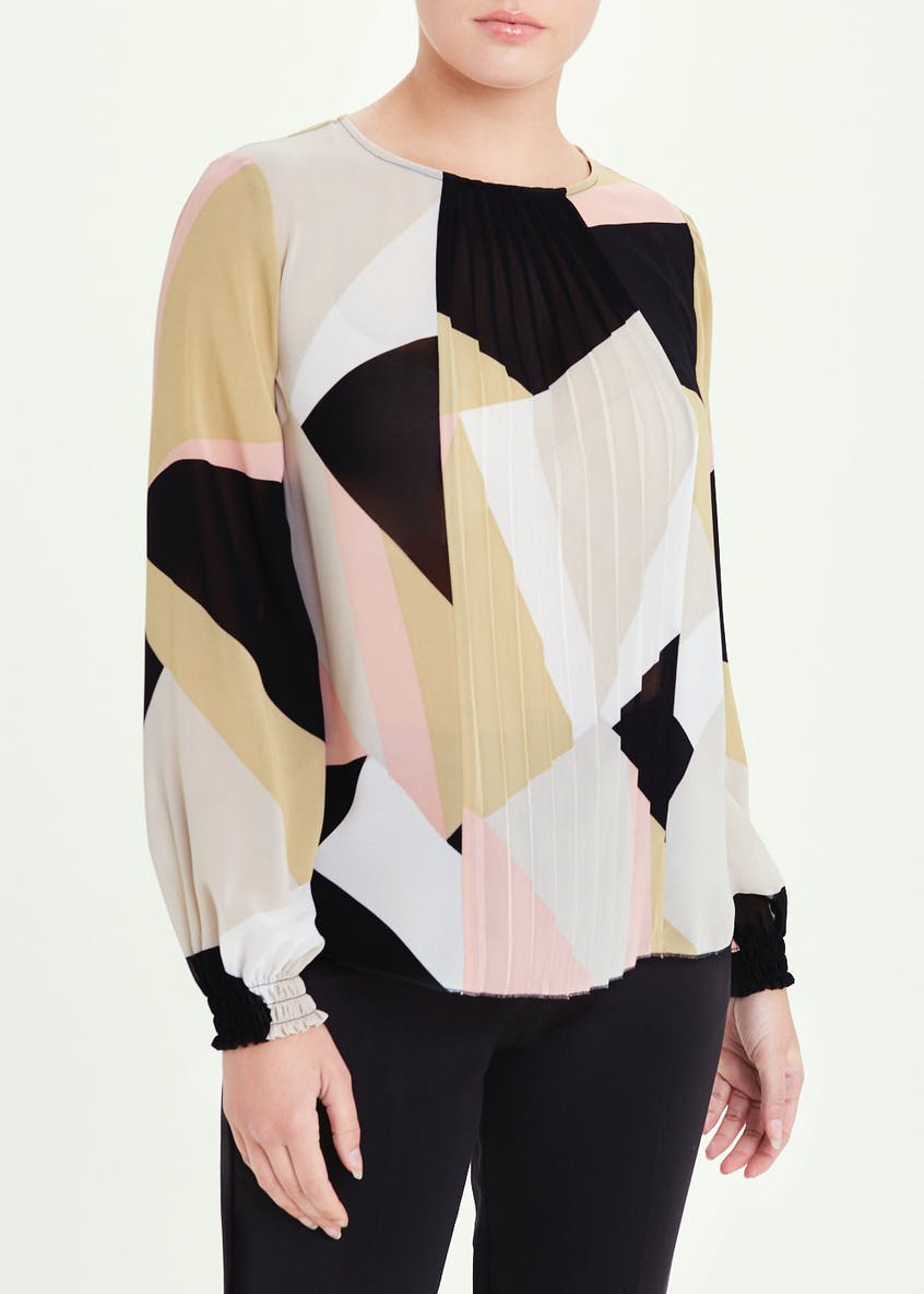Long Sleeve Pleat Front Abstract Blouse