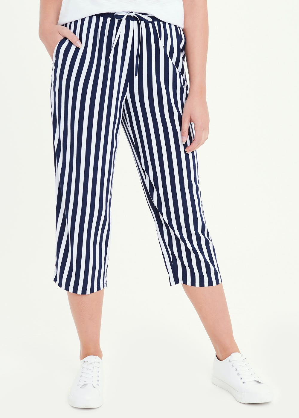 Stripe Cropped Trousers – Navy