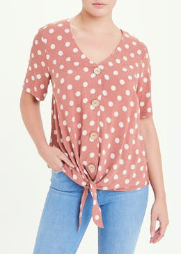 Short Sleeve Polka Dot Button Tie Front Top